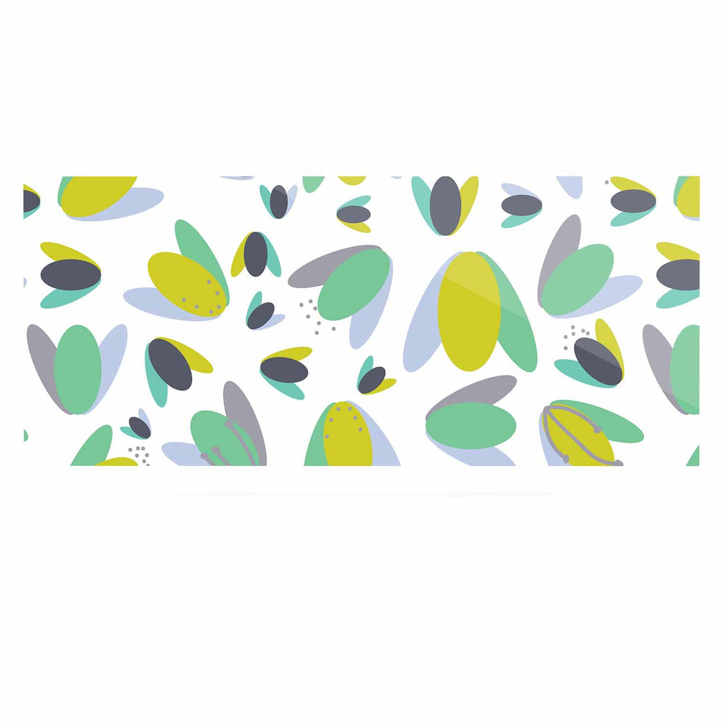 "Love Midge ""1970s Floral Geometric Neon"" Yellow Abstract Luxe Rectangle Panel - KESS InHouse  - 1"
