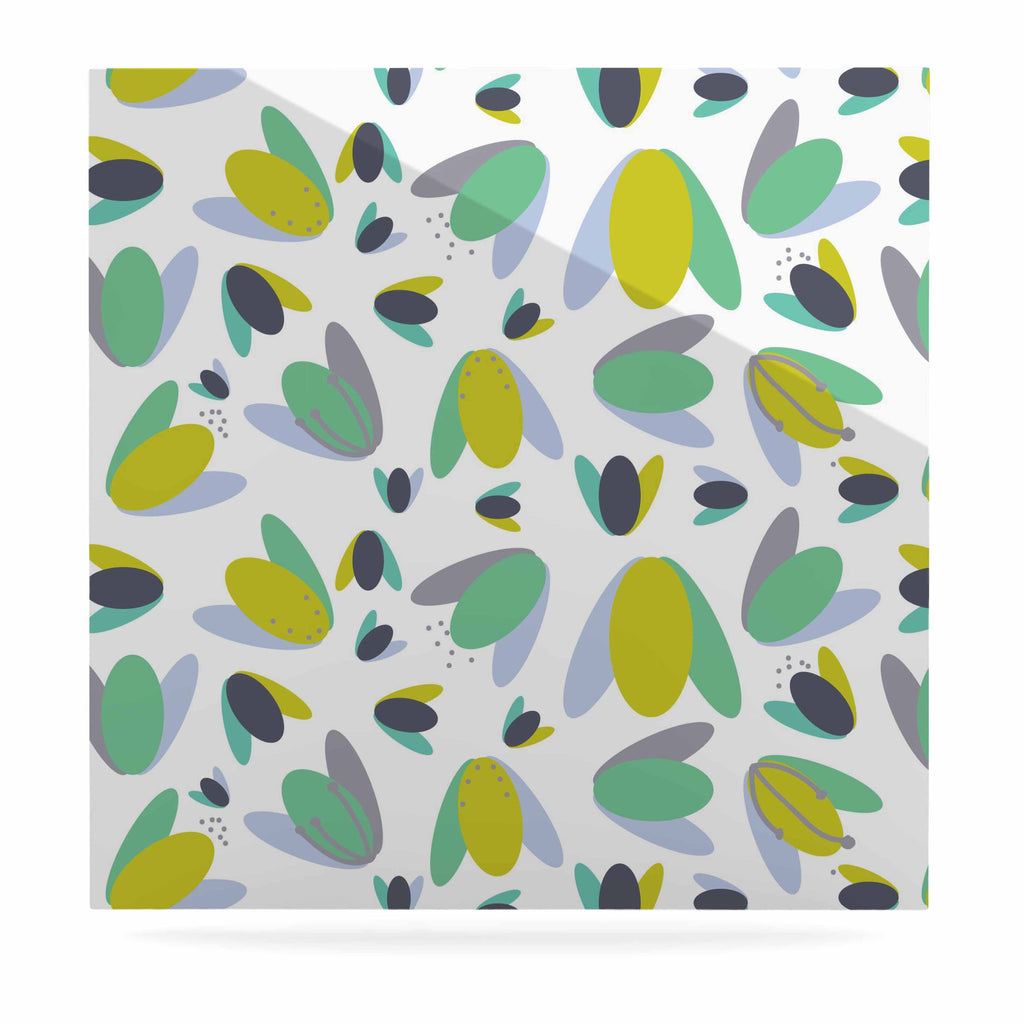 "Love Midge ""1970s Floral Geometric Neon"" Yellow Abstract Luxe Square Panel - KESS InHouse  - 1"