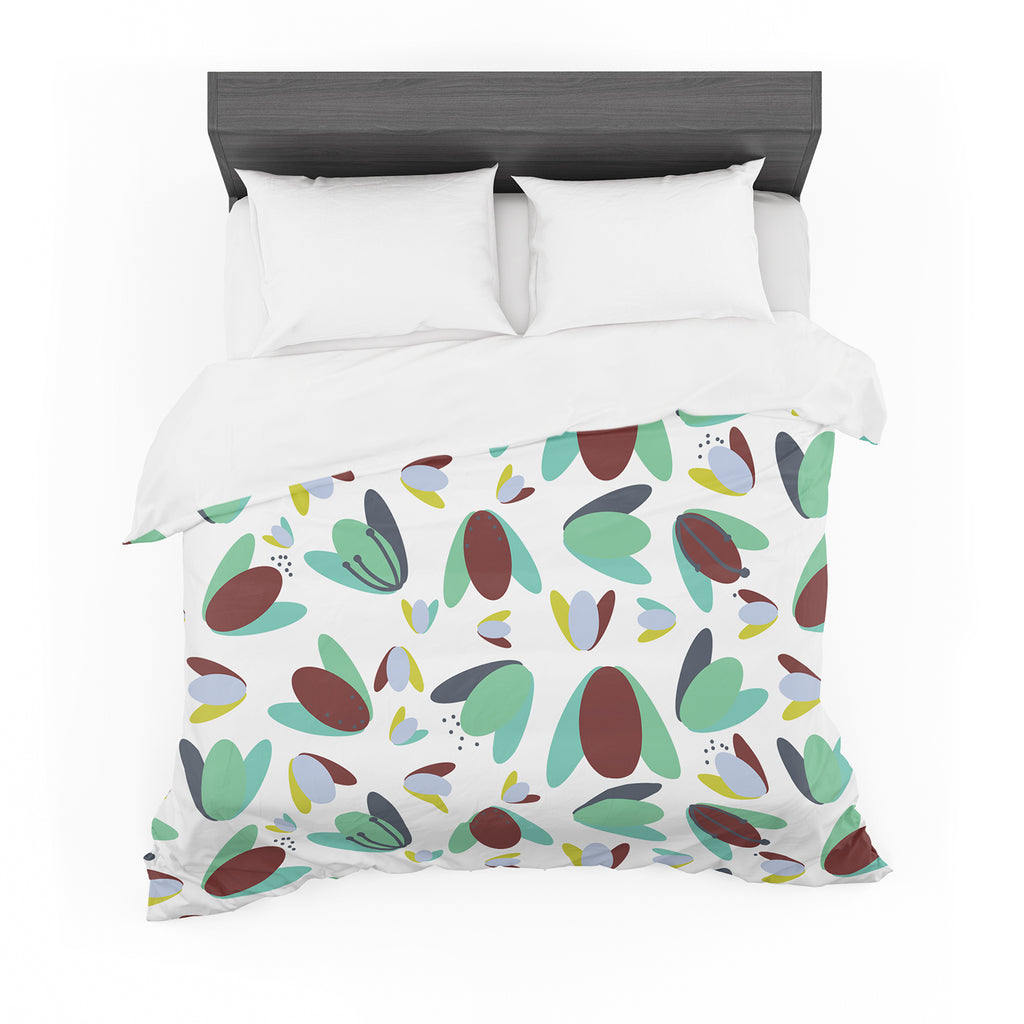 "Love Midge ""70s Floral Geometric"" Green Floral Featherweight Duvet Cover"