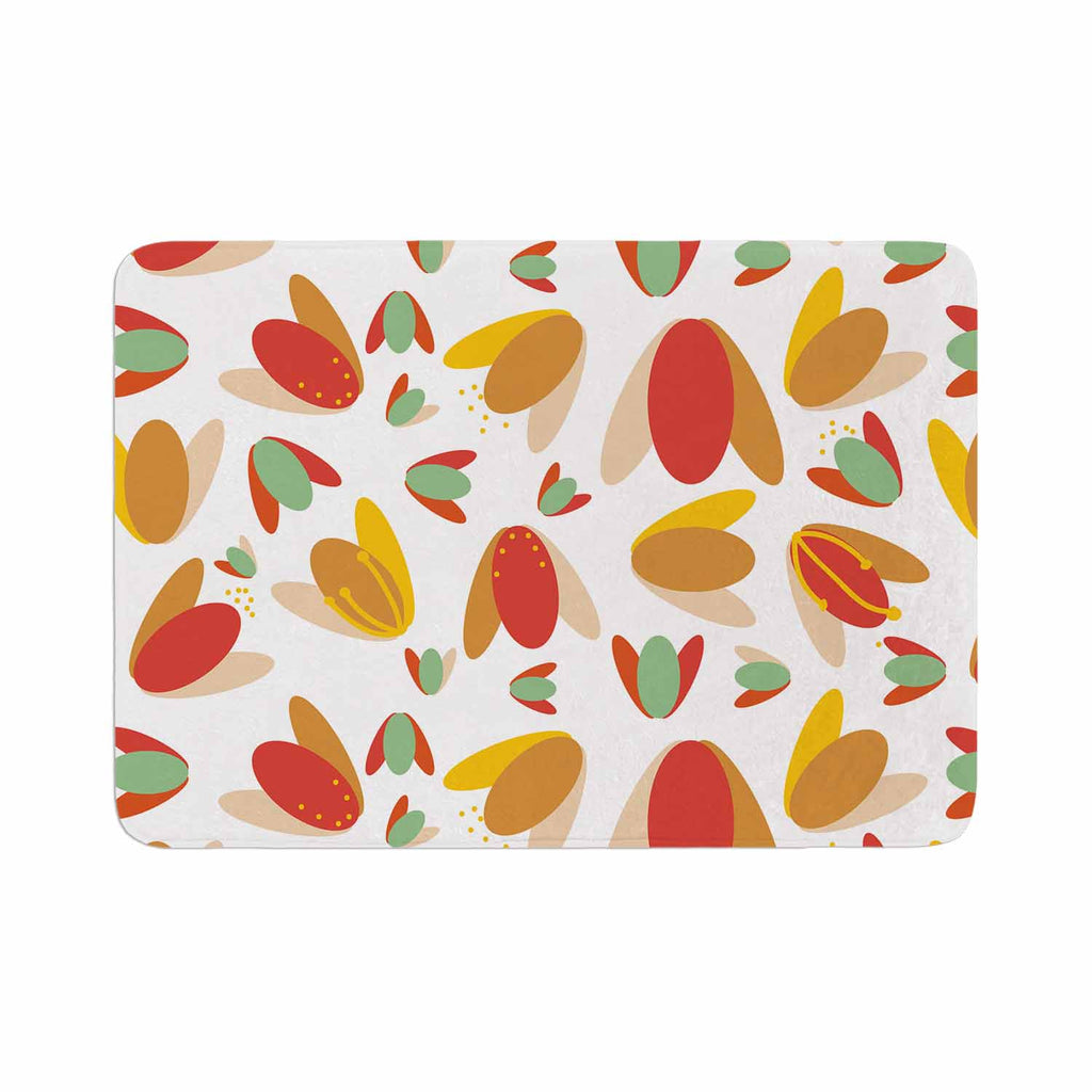 "Love Midge ""70's Retro Floral"" Orange Nature Memory Foam Bath Mat - KESS InHouse"