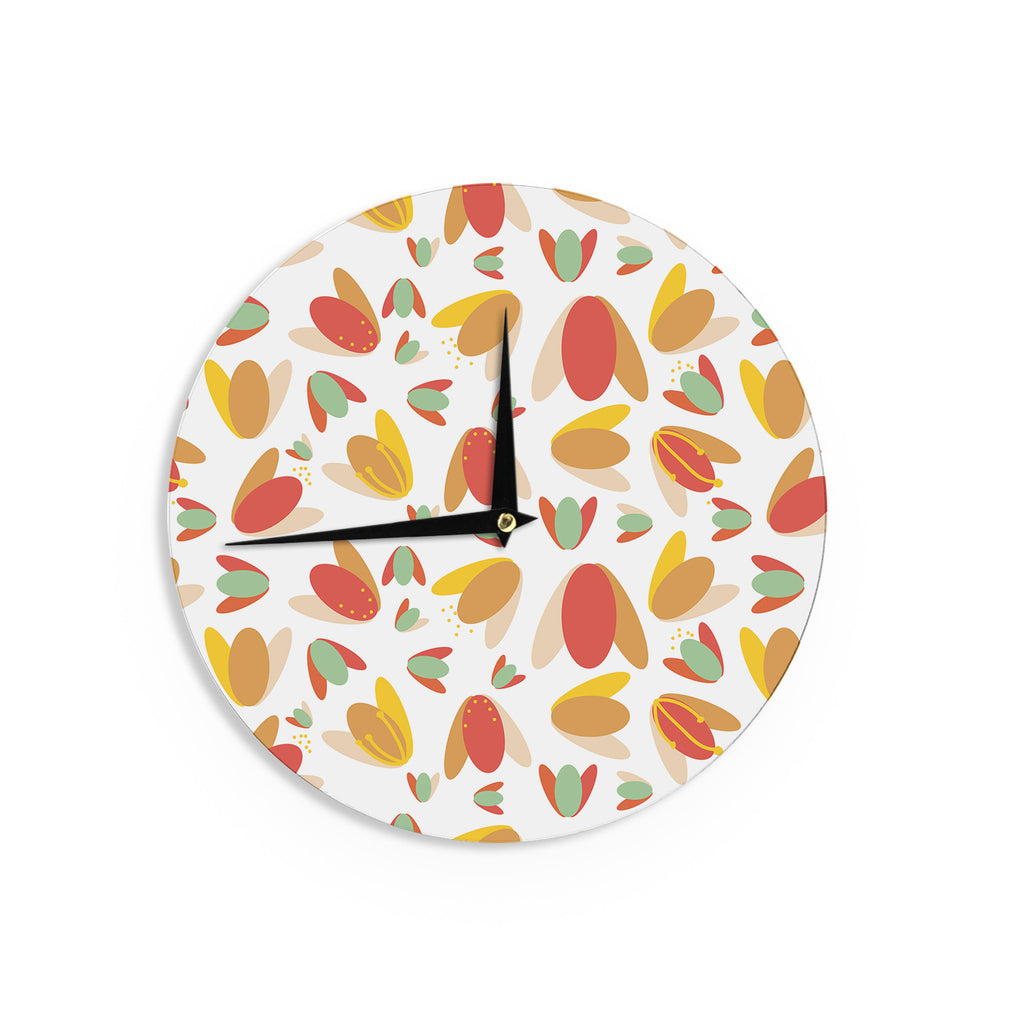 "Love Midge ""70's Retro Floral"" Orange Nature Wall Clock - KESS InHouse"