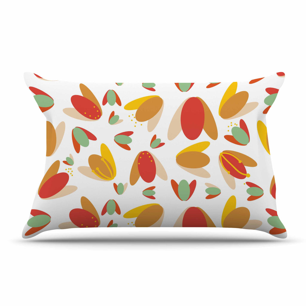 "Love Midge ""70's Retro Floral"" Orange Nature Pillow Sham - KESS InHouse  - 1"