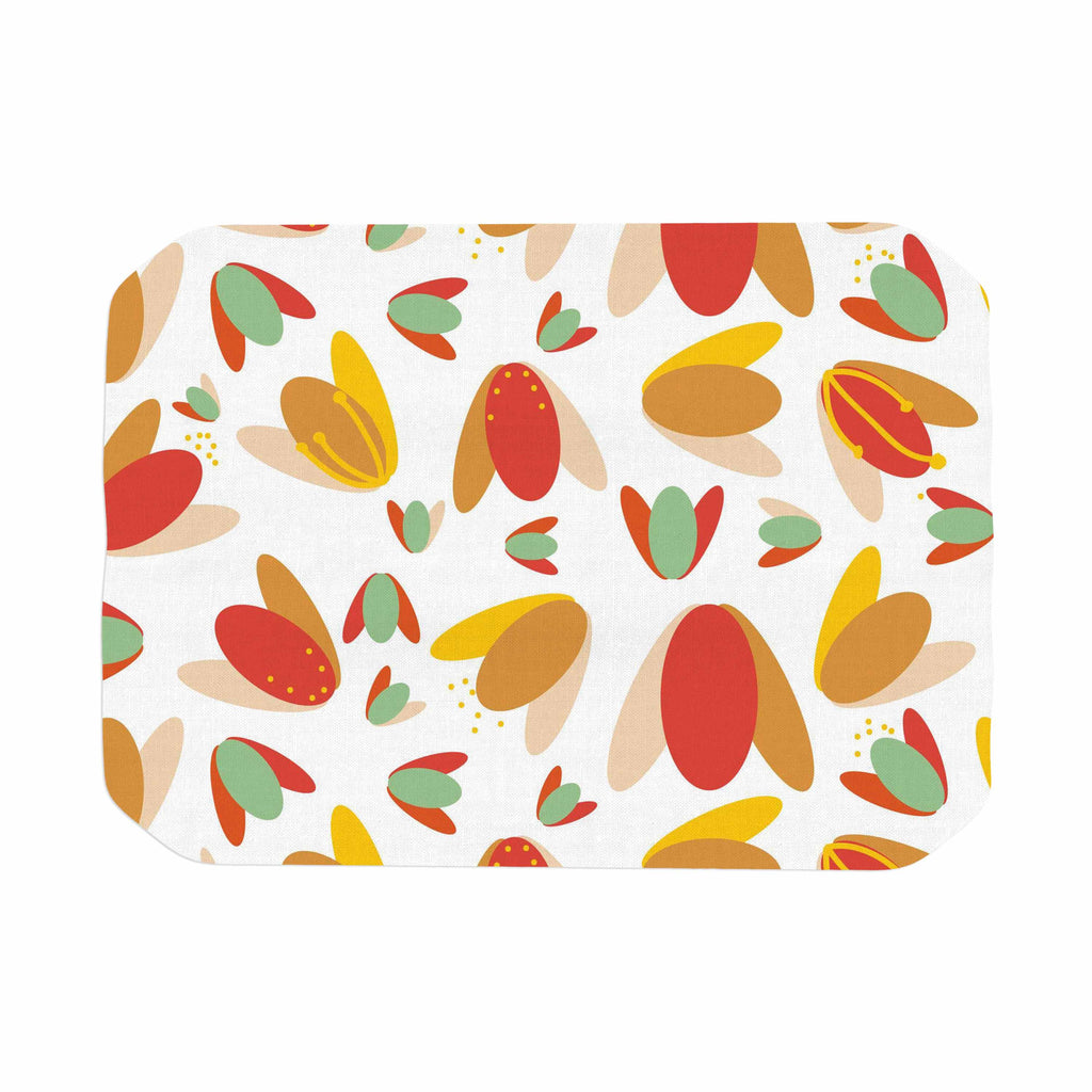 "Love Midge ""70's Retro Floral"" Orange Nature Place Mat - KESS InHouse"