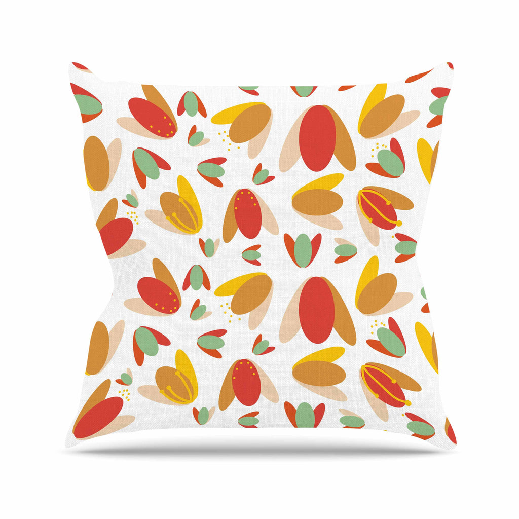 "Love Midge ""70's Retro Floral"" Orange Nature Outdoor Throw Pillow - KESS InHouse  - 1"
