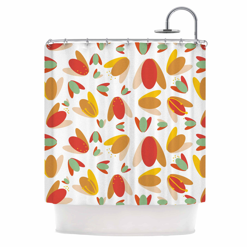 "Love Midge ""70's Retro Floral"" Orange Nature Shower Curtain - KESS InHouse"