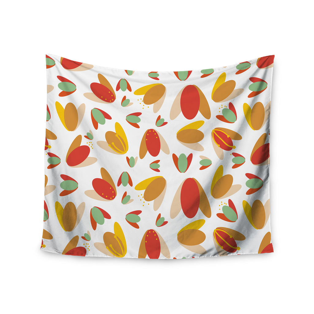 "Love Midge ""70's Retro Floral"" Orange Nature Wall Tapestry - KESS InHouse  - 1"