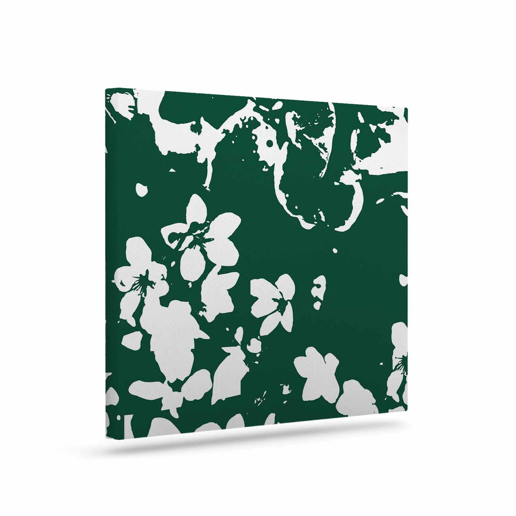 "Love Midge ""Helena Floral Green "" White Abstract Canvas Art - KESS InHouse  - 1"