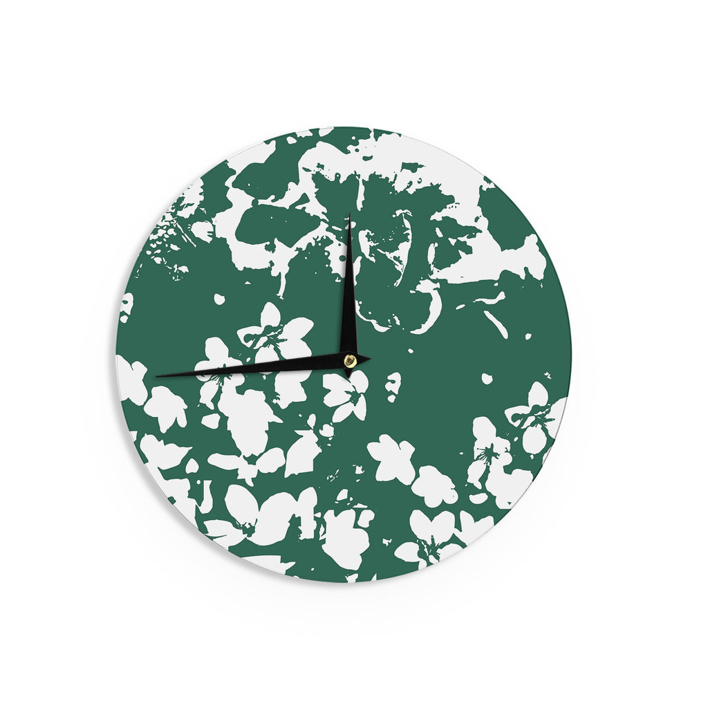 "Love Midge ""Helena Floral Green "" White Abstract Wall Clock - KESS InHouse"
