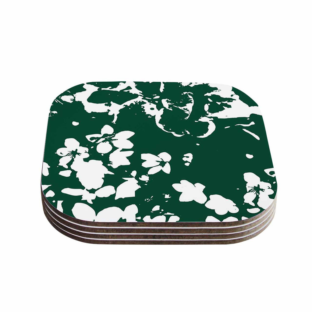 "Love Midge ""Helena Floral Green "" White Abstract Coasters (Set of 4)"