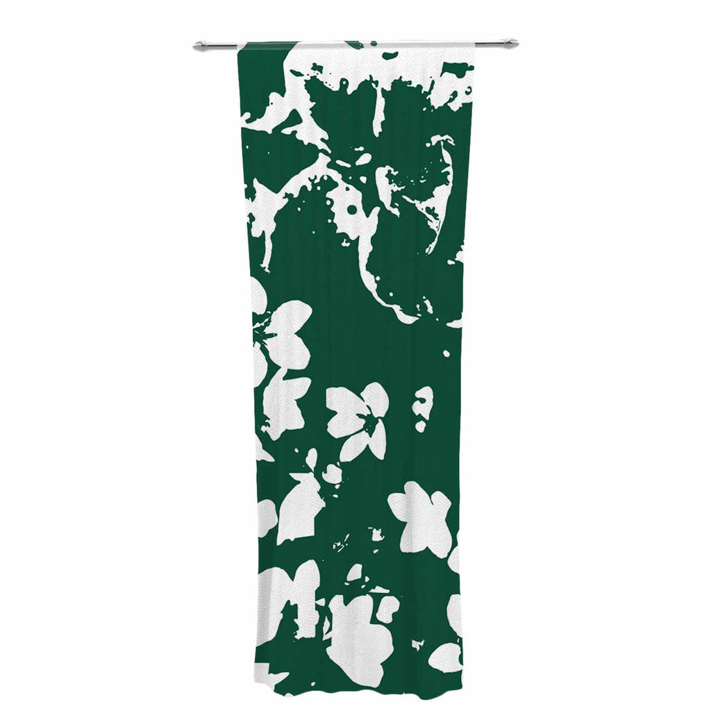 "Love Midge ""Helena Floral Green "" White Abstract Decorative Sheer Curtain - KESS InHouse  - 1"