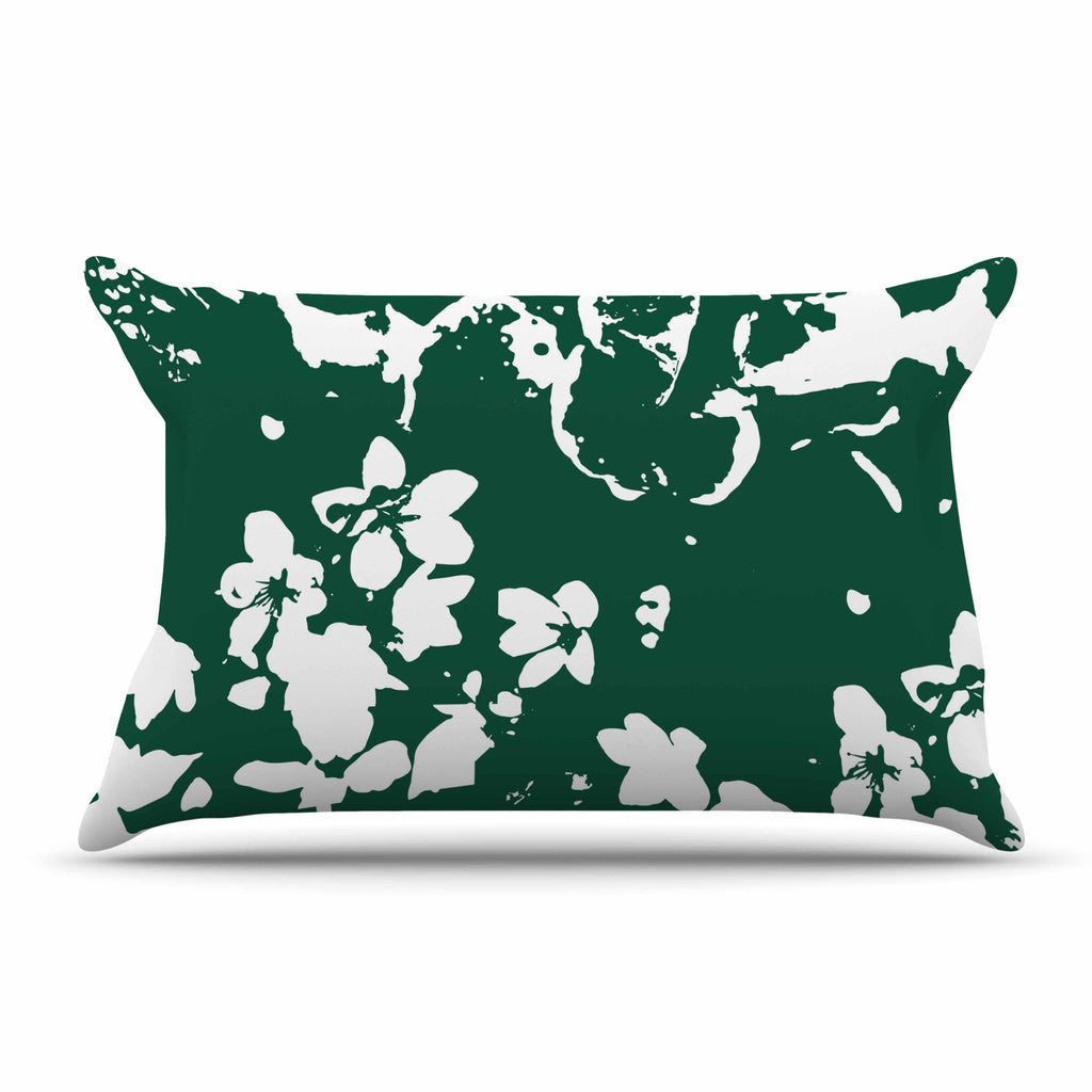 "Love Midge ""Helena Floral Green "" White Abstract Pillow Sham - KESS InHouse  - 1"