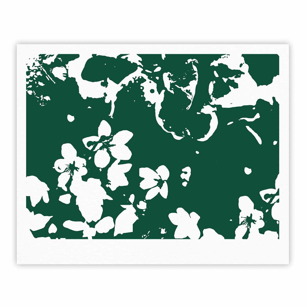 "Love Midge ""Helena Floral Green "" White Abstract Fine Art Gallery Print - KESS InHouse"
