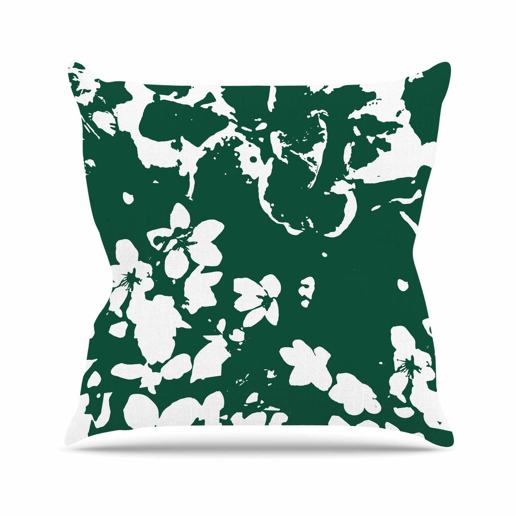 "Love Midge ""Helena Floral Green "" White Abstract Throw Pillow - KESS InHouse  - 1"