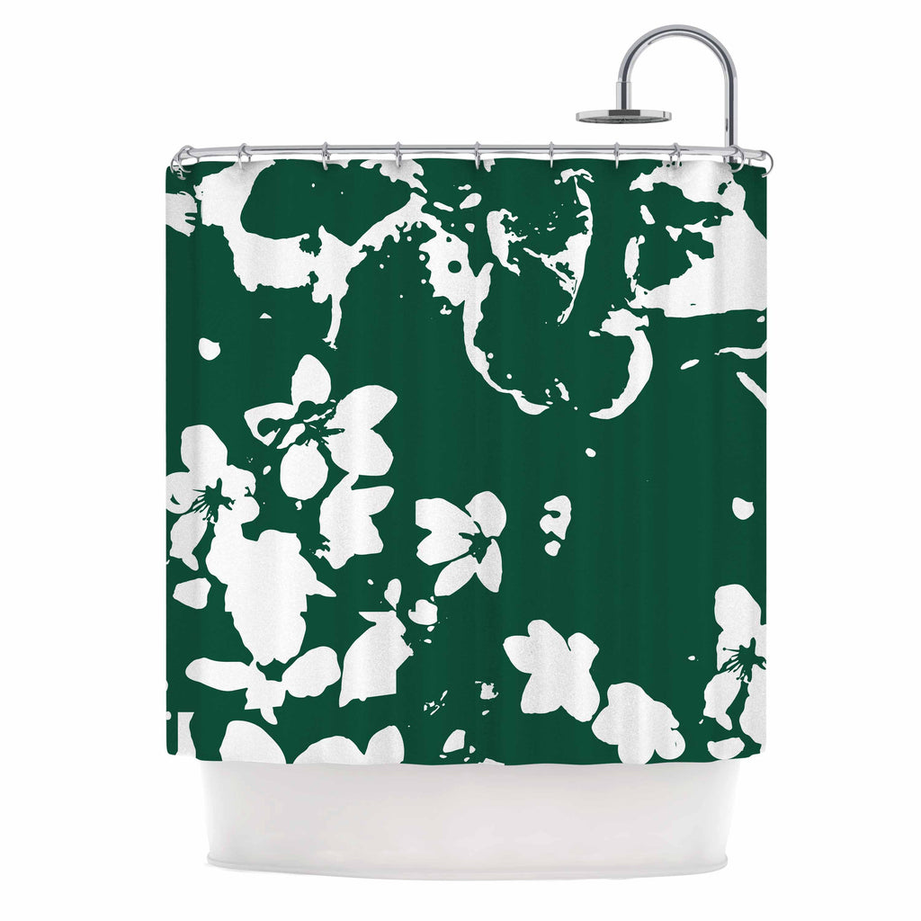 "Love Midge ""Helena Floral Green "" White Abstract Shower Curtain - KESS InHouse"