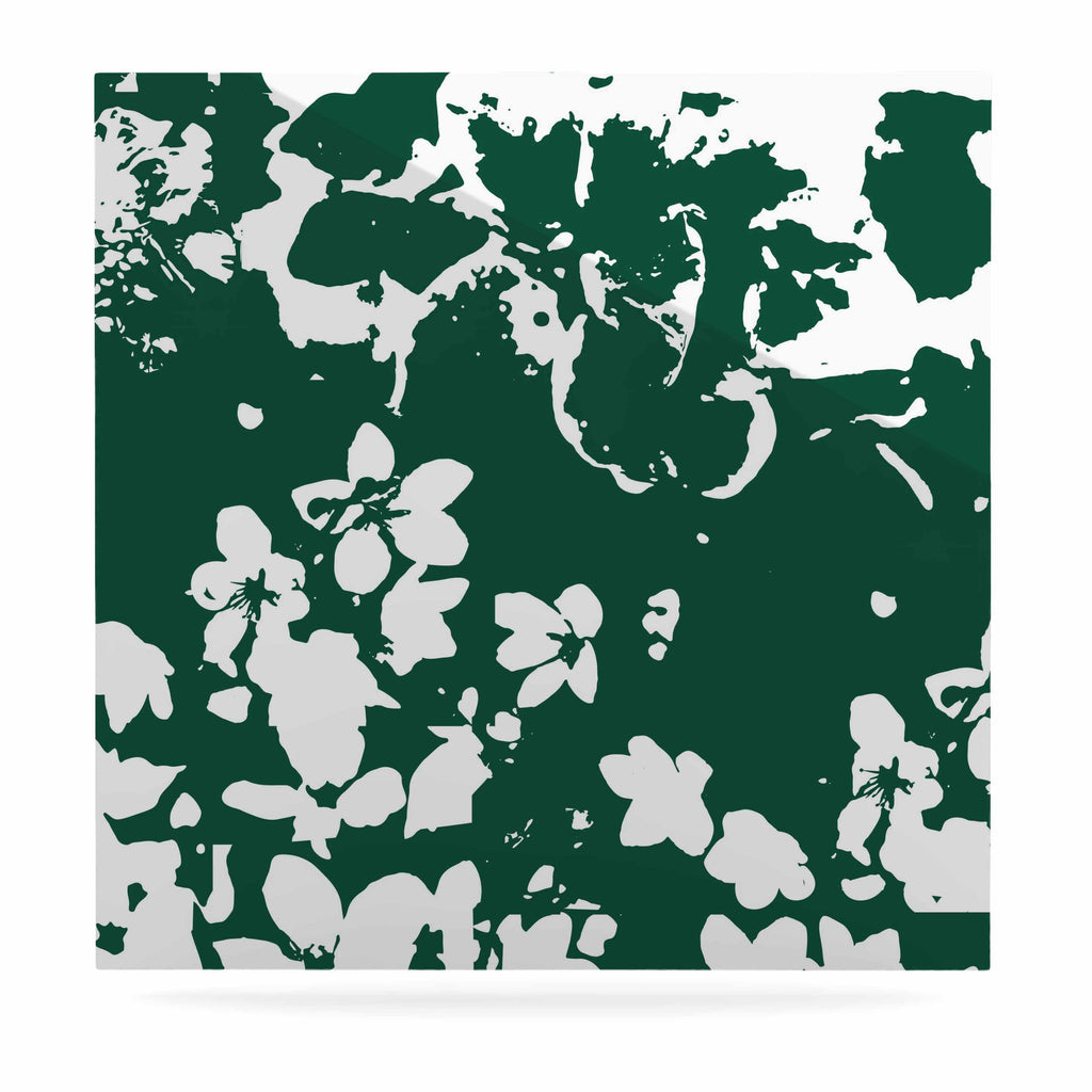 "Love Midge ""Helena Floral Green "" White Abstract Luxe Square Panel - KESS InHouse  - 1"