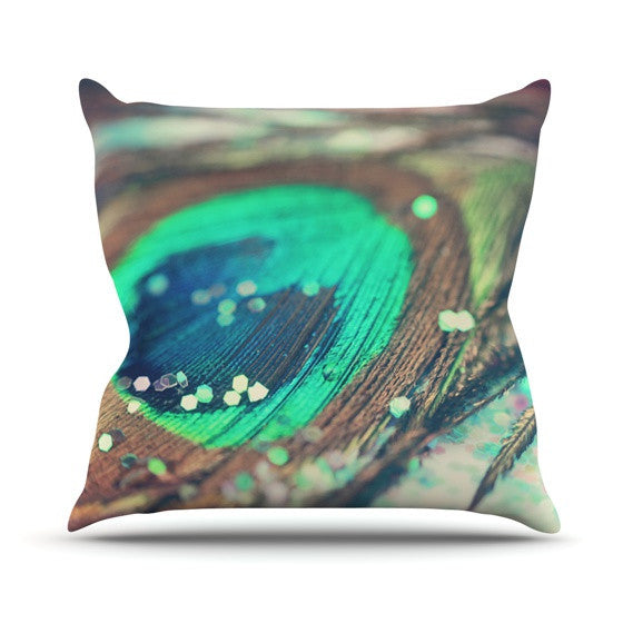 "Beth Engel ""Peacocks Dream"" Outdoor Throw Pillow - KESS InHouse  - 1"