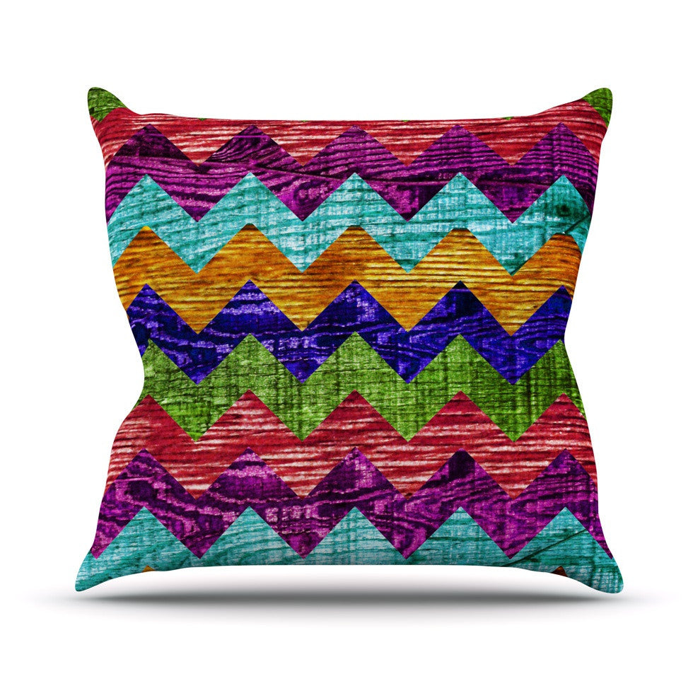 "Beth Engel ""Natural Flow"" Chevron Outdoor Throw Pillow - KESS InHouse  - 1"