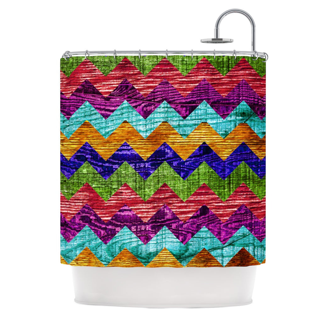 "Beth Engel ""Natural Flow"" Chevron Shower Curtain - KESS InHouse"