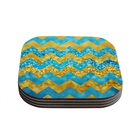 "Beth Engel ""Blueberry Twist"" Chevron Coasters (Set of 4)"