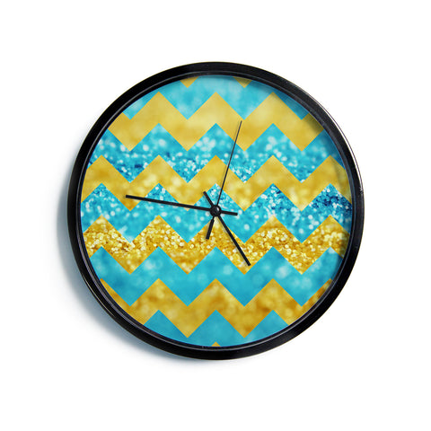 "Beth Engel ""Blueberry Twist"" Chevron Modern Wall Clock"