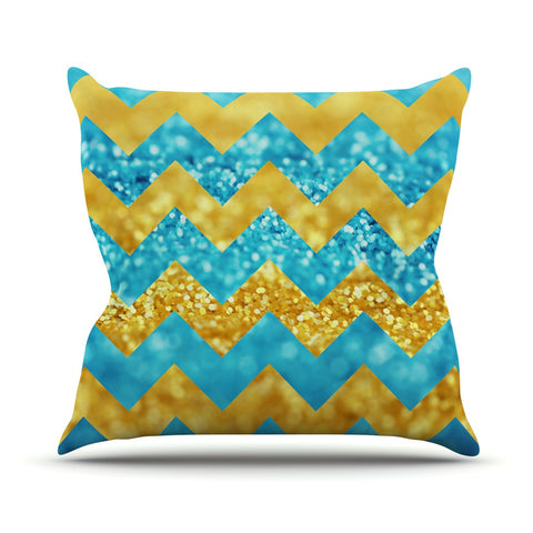 "Beth Engel ""Blueberry Twist"" Chevron Outdoor Throw Pillow - KESS InHouse  - 1"