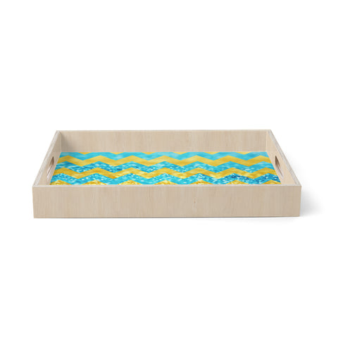 "Beth Engel ""Blueberry Twist"" Chevron Birchwood Tray"