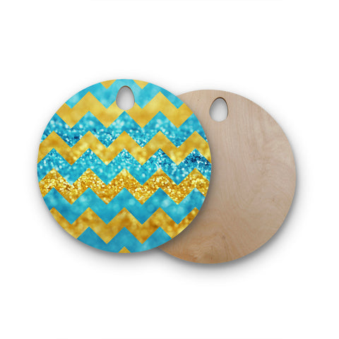 "Beth Engel ""Blueberry Twist"" Chevron Round Wooden Cutting Board"