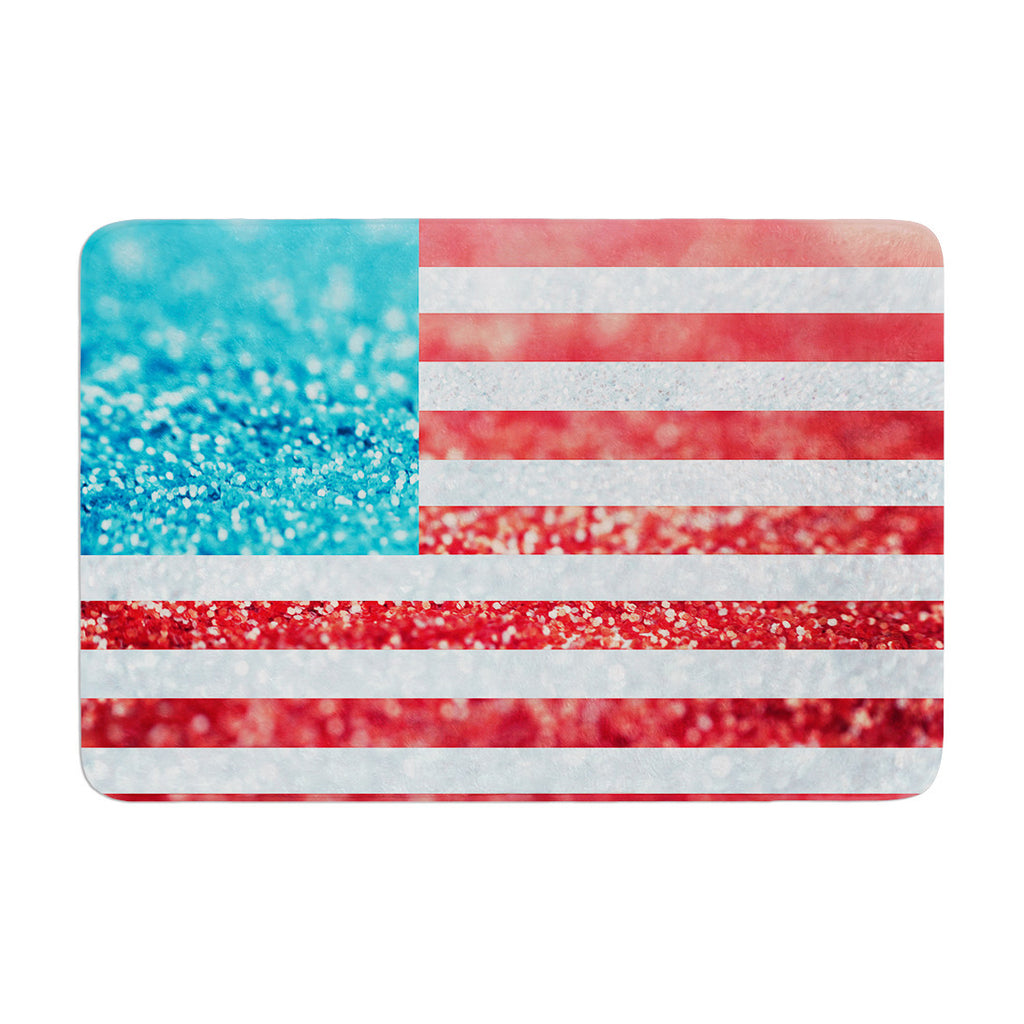 "Beth Engel ""Red White and Glitter"" Flag Memory Foam Bath Mat - KESS InHouse"