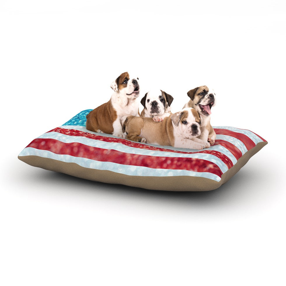 "Beth Engel ""Red White and Glitter"" Flag Dog Bed - KESS InHouse  - 1"