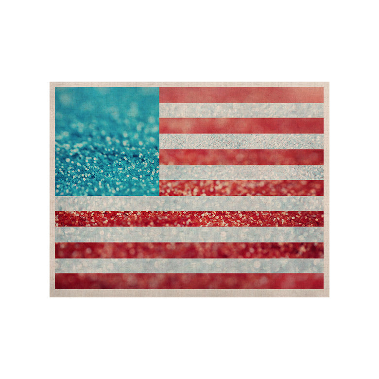 "Beth Engel ""Red White and Glitter"" Flag KESS Naturals Canvas (Frame not Included) - KESS InHouse  - 1"