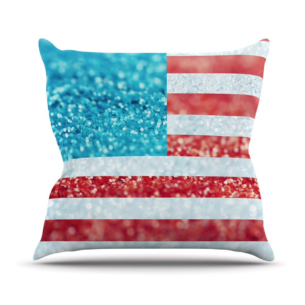 "Beth Engel ""Red White and Glitter"" Flag Throw Pillow - KESS InHouse  - 1"