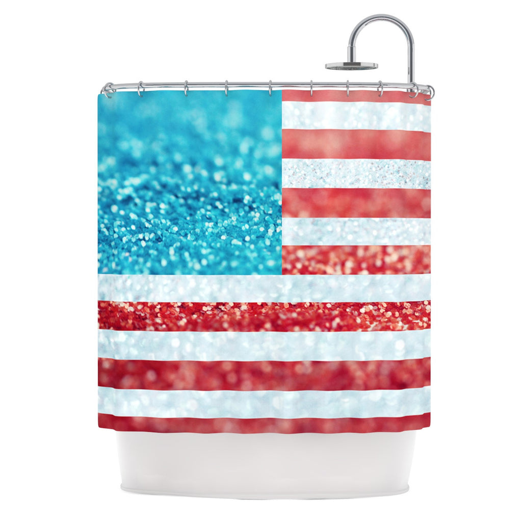 "Beth Engel ""Red White and Glitter"" Flag Shower Curtain - KESS InHouse"