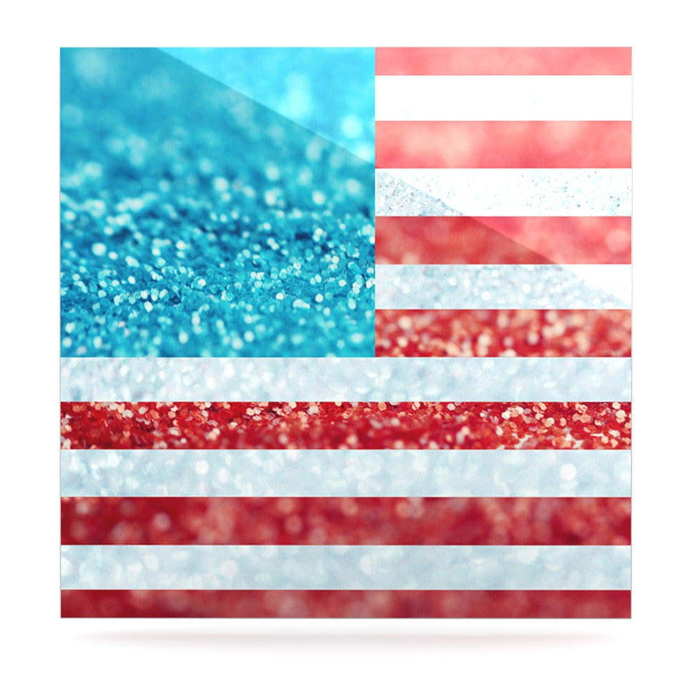 "Beth Engel ""Red White and Glitter"" Flag Luxe Square Panel - KESS InHouse  - 1"