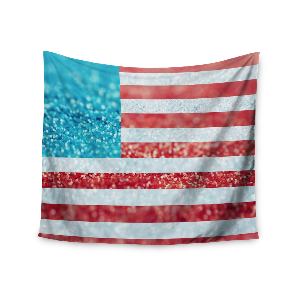 "Beth Engel ""Red White and Glitter"" Flag Wall Tapestry - KESS InHouse  - 1"