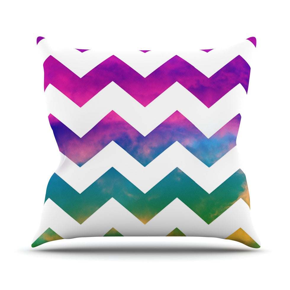 "Beth Engel ""Lucky Chevron"" Outdoor Throw Pillow - KESS InHouse  - 1"