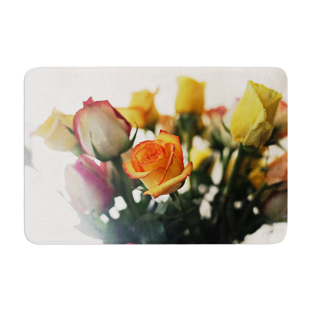 "Beth Engel ""Sweet Reminder"" Flowers Yellow Memory Foam Bath Mat - KESS InHouse"