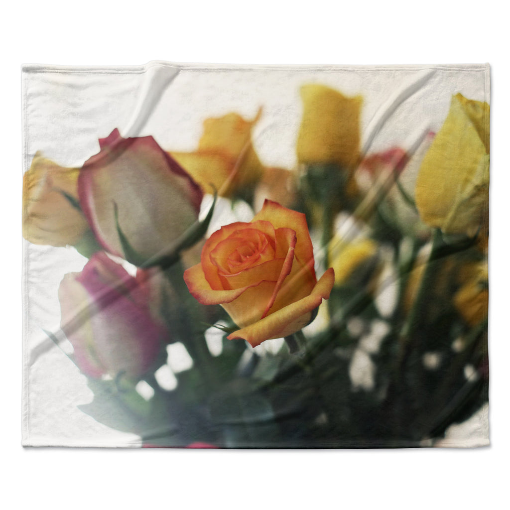 "Beth Engel ""Sweet Reminder"" Flowers Yellow Fleece Throw Blanket"