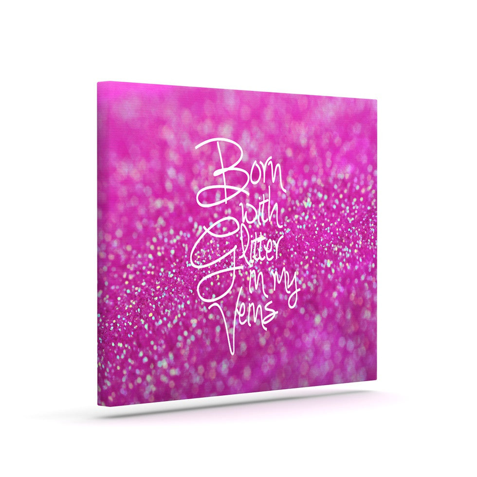 "Beth Engel ""Born with Glitter"" Pink Sparkle Canvas Art - KESS InHouse  - 1"