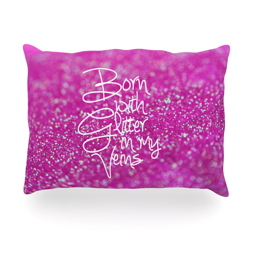 "Beth Engel ""Born with Glitter"" Pink Sparkle Oblong Pillow - KESS InHouse"