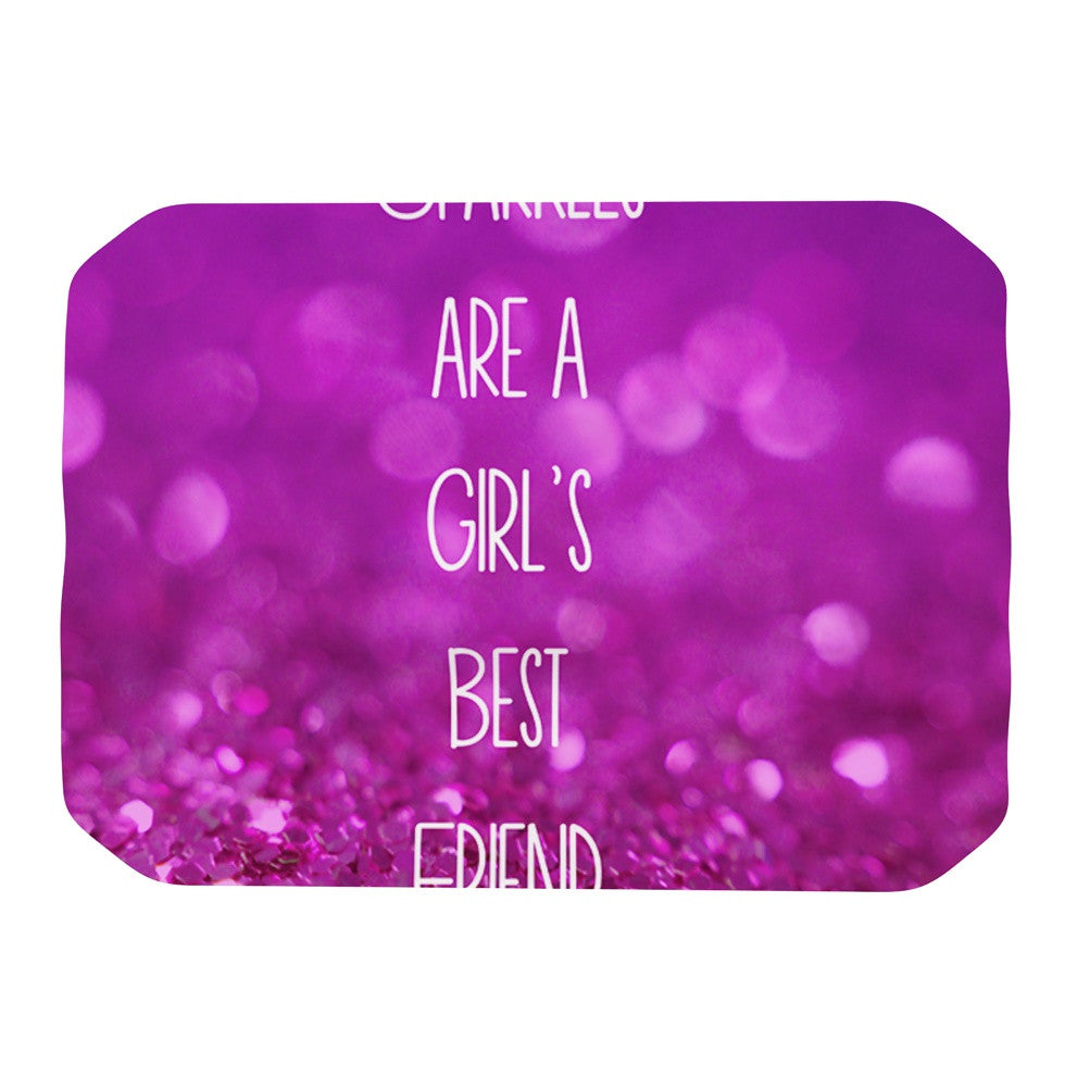 "Beth Engel ""Sparkles are a Girls Best Friend"" Purple Glitter Place Mat - KESS InHouse"