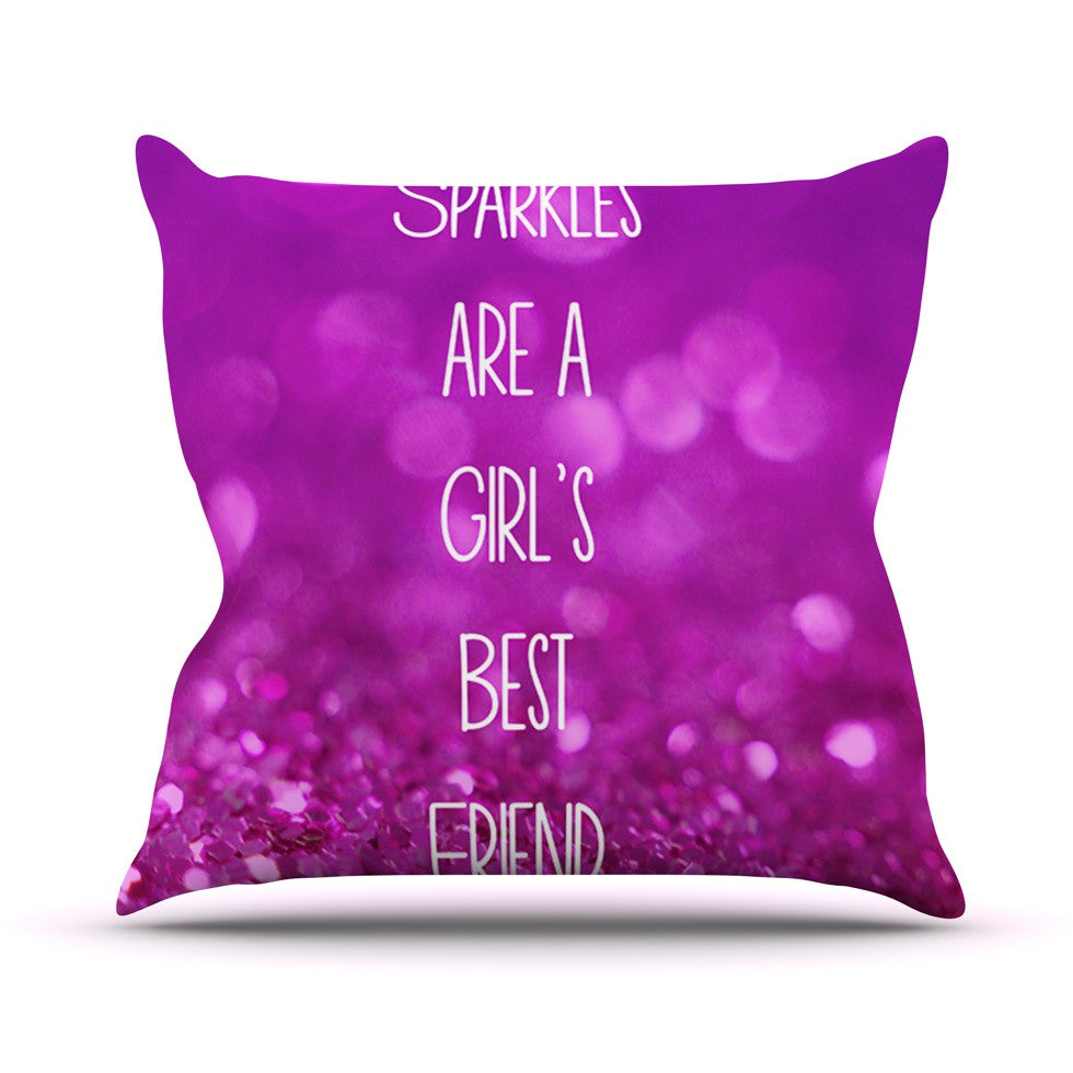 "Beth Engel ""Sparkles are a Girls Best Friend"" Purple Glitter Throw Pillow - KESS InHouse  - 1"
