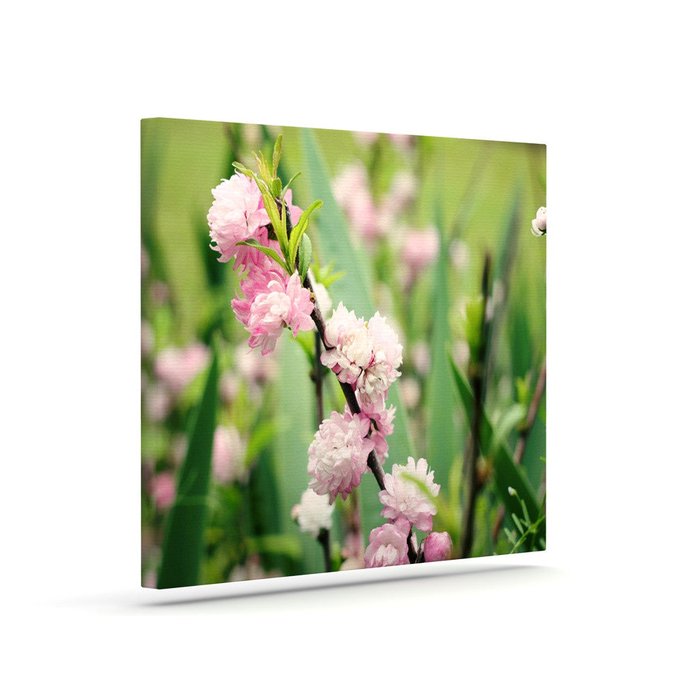 "Beth Engel ""The Best Things in Life Are Pink"" Green Pink Canvas Art - KESS InHouse  - 1"
