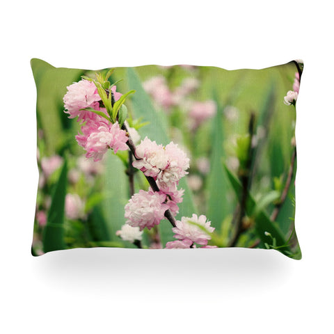 "Beth Engel ""The Best Things in Life Are Pink"" Green Pink Oblong Pillow - KESS InHouse"
