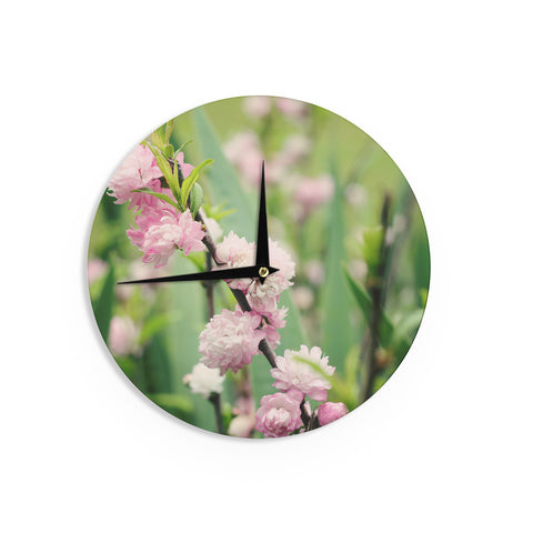 "Beth Engel ""The Best Things in Life Are Pink"" Green Pink Wall Clock - KESS InHouse"