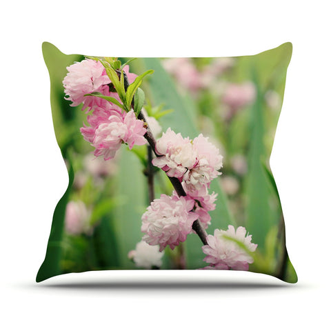 "Beth Engel ""The Best Things in Life Are Pink"" Green Pink Outdoor Throw Pillow - KESS InHouse  - 1"