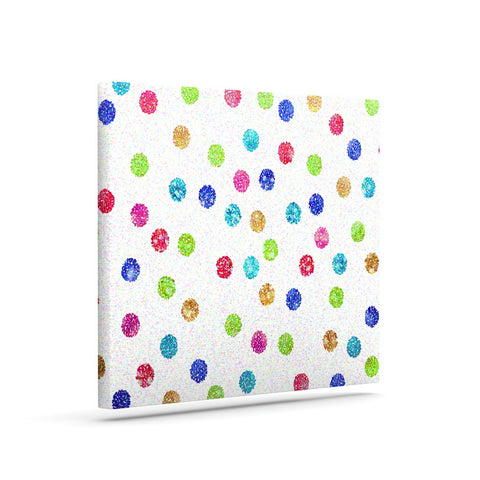 "Beth Engel ""Seeing Dots"" Rainbow White Canvas Art - KESS InHouse  - 1"