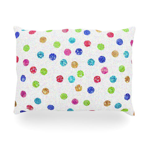 "Beth Engel ""Seeing Dots"" Rainbow White Oblong Pillow - KESS InHouse"