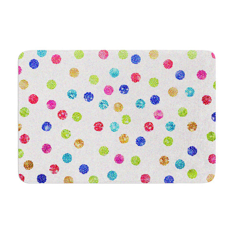 "Beth Engel ""Seeing Dots"" Rainbow White Memory Foam Bath Mat - KESS InHouse"