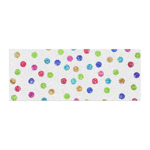 "Beth Engel ""Seeing Dots"" Rainbow White Bed Runner - KESS InHouse"