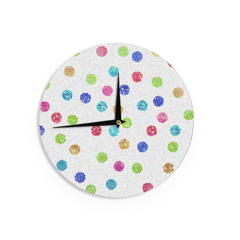 "Beth Engel ""Seeing Dots"" Rainbow White Wall Clock - KESS InHouse"